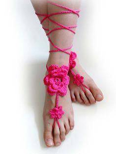 Crochet Flower Barefoot Sandals. Hot Pink or 27 colors. Woman's Foot Jewelry. Long Ties. Beach Wedding Accessory. Beachwear. Set of 2 by VividBear on Etsy