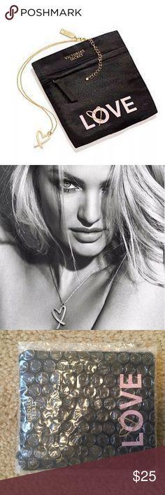 New! Victoria's Secret Love Necklace New! Victoria's Secret Love Heart Shaped Necklace With Pouch Victoria's Secret Jewelry Necklaces