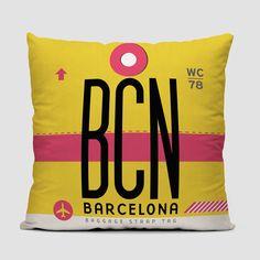 Throw Pillow - BCN - Barcelona–El Prat Airport. IATA code BCN | airportag