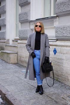 mom jeans grey long coat