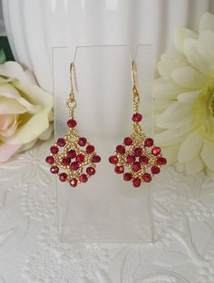 Earrings Woven in Metallic Red Roundel Crystal and Golden Seed