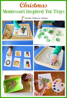 A fun collection of 6 Christmas Montessori Inspired tot trays to enjoy with toddlers and preschoolers. - www.christianmontessorinetwork.com