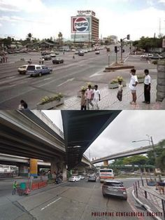 Dito, Noon: EDSA, x — The experience of walking the historic intersection of Epifanio de los Santos and Ortigas Avenue, changed drastically with the erection of the flyovers and the EDSA Shrine. The strip separates Quezon City and San Juan City. Quezon City, Present Day, Separates, Manila, 1990s, Philippines, Walking, Street View, History