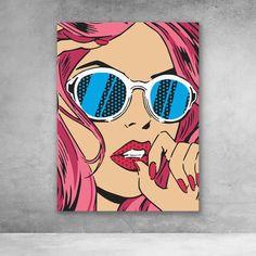 Girl With Sunglasses street art pop art canvas print Small Canvas Art, Diy Canvas Art, Pop Art Drawing, Art Drawings, Pop Art Girl Crying, Bd Pop Art, Pop Art Face, Desenho Pop Art, Tableau Pop Art