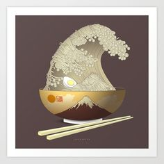 The Great Ramen Wave Art Print by Sheharzad - X-Small Canvas Art, Canvas Prints, Wave Art, Metal Art, Framed Art Prints, Ramen, Vibrant Colors, Just For You, Illustration