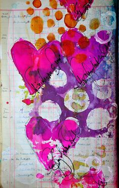 """I love all the vivid color in this """"hearts and stencils"""" page by Dina Wakely."""