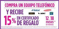 Suburbia te devuelven 15% del valor del teléfono en certificados de regalo además de que puedes pagar a 12 o 18 meses sin intereses al comprar un equipo telefónico de Telcel, Iusacell, Movistar, Vibe o Unefon. La compra mínima para meses sin intereses es de $800.