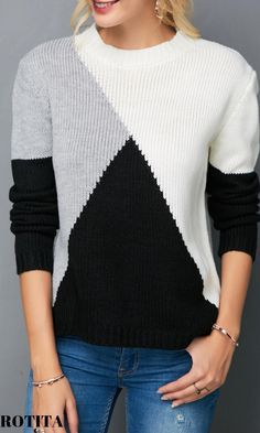 Der neue Round Neck Long Sleeve Color Block Knitting Sweater - Trend Way Dress , Cardigan Sweaters For Women, Cardigans For Women, Sweater Cardigan, Ladies Sweaters, Black Cardigan, Grey Sweater, Trendy Tops For Women, Stylish Tops, Vogue Knitting