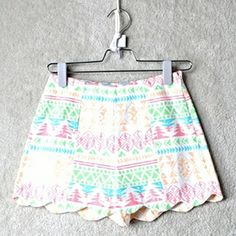 pastel patterned scallop shorts