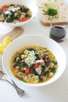 Kale and Sausage Minestrone / Bev Cooks