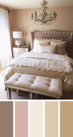 Perfect Nude Bedroom Color Scheme Ideas - Saved for headboard and bench @ foot of the bed!! <3