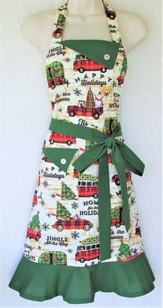 Your place to buy and sell all things handmade : Vintage Style Christmas Apron Retro Cars Christmas Plaid Christmas Aprons, Plaid Christmas, Vintage Christmas, Christmas Trees, Christmas Gifts, Xmas, Retro Apron, Aprons Vintage, Auto Retro