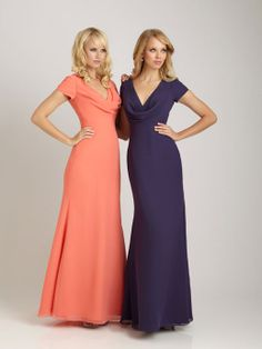 Glamorous short sleeve A-line bridesmaid dress