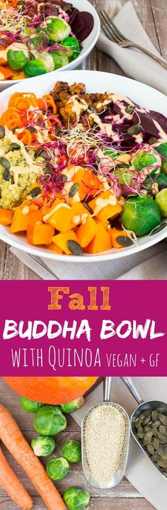 This fall buddha bowl with quinoa and pumpkin is comforting, super healthy, packed with flavor, gluten free, and vegan! It's also a great flu fighter!