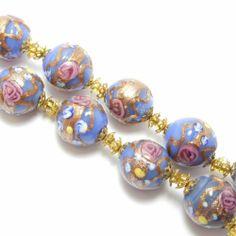 Italian Wedding Cake Blue Venetian Glass Beads | eBay