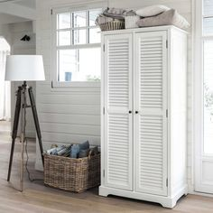 Witte houten garderobe B 86 cm Barbade | Maisons du Monde