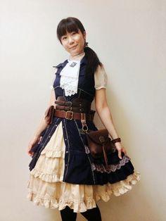 dress - Ozz On Japan  blouse - no brand  skirt - bodyline  waist belt - Forever 21