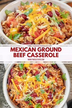 This Mexican Ground Beef Casserole With Rice And Beans is a super family-friendly meal that you& going to love! Make it quickly and easily in your Instant Pot. Beef Recipe Instant Pot, Instant Pot Dinner Recipes, Beef Recipes For Dinner, Crock Pot Recipe Ground Beef, Mexican Ground Beef Casserole, Ground Beef Recipes Mexican, Taco Casserole With Rice, Mexican Beef Recipes, Healthy Ground Beef