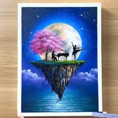 Canvas Painting Tutorials, Diy Canvas Art, Acrylic Painting Canvas, Moon Painting, Simple Canvas Paintings, Oil Pastel Paintings, Acrylic Painting Flowers, Oil Pastel Art, Small Canvas Art
