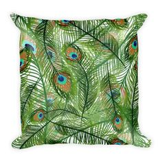 Peacock Feather - Double Sided Throw Pillow