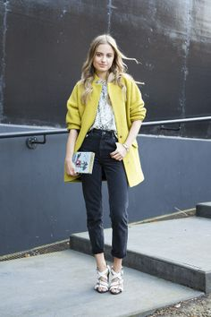 Sonya Esman at LFW. Those Topshop shoes complete this outfit: a fashion statement on their own!