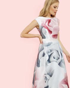 Porcelain Rose midi dress - Ecru | Dresses | Ted Baker UK