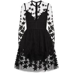 Elie Saab Star Embroidered Tulle Mini Dress ($5,615) ❤ liked on Polyvore featuring dresses, vestidos, платья, long sleeve mini dress, tulle cocktail dresses, tulle dress, long sleeve embroidered dress and short dresses
