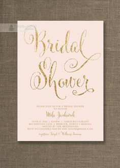 Blush Pink & Gold Bridal Shower Invitation by digibuddhaPaperie, $20.00