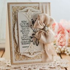 Card Making Idea by Becca Feeken using Spellbinders Victorian Bow Corner - www.amazingpapergrace.com