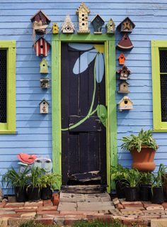 Colorful door surrounded by birdhouses...