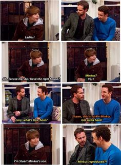 Cory, Shawn & Farkle Minkus in Girl Meets World Home For The Holidays. Cory And Shawn, Cory And Topanga, Riley Matthews, Disney Channel Shows, Disney Shows, World Quotes, Tv Quotes, Funny Quotes, Funny Memes