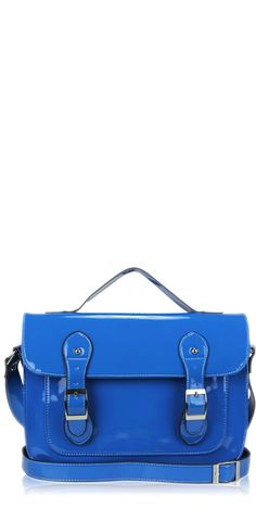 'Patent blue' Vintage 1960's style satchel school retro electric blue handbag