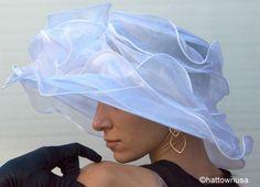 Women's Kentucky Derby Hat NEW Layered Organza Wide Brim White Fuchsia Del Mar