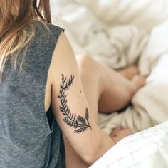tattoo, ink, nature, leaves, wreath, placement, back of arm