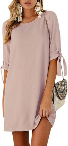 YOINS Summer Dresses for Women Long Sleeves T Shirts Solid Crew Neck Tunics Self-tie Blouses Mini Dresses Cute Dresses For Teens, Summer Formal Dresses, Spring Dresses Casual, Summer Dresses For Women, Mini Dresses, Simple Dresses, Lace Dresses, Winter Dresses, Party Dresses