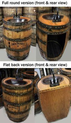 Whiskey barrel sink hammered copper rustic antique bathroom