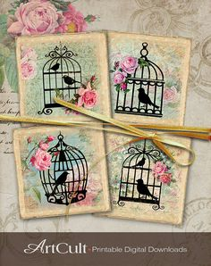3.8x3.8 inch size Images SWEET BIRD CAGES Printable Download Digital Collage Sheet for coasters home decor iron on transfer, scrapbooking