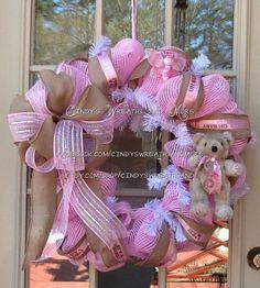 Welcome Baby Mesh Deco Wreaths | Baby Wreath, Girl Wreath, Pink Wreath, Nursery Wreath, Baby, Deco Mesh ...