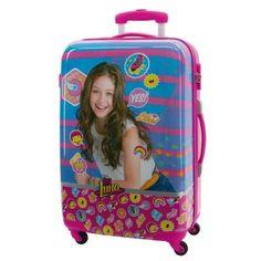 Maleta mediana Yo soy Luna, maleta dura de cuatro ruedas de color rosa con la imagen de Luna en el frotal