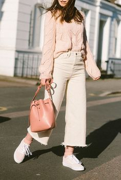 Beige sweater, off white denim culottes, beige sneakers, pink bucket bag. Neutrals, neutral colors, neutral tone outfit, neutral outfit, neutral color outfit, spring outfit, fall outfit, casual outfit, comfy outfit, fashion trends 2018, fashion 2018, spring style, stylish, street style.