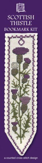 This is the counted cross stitch Bookmark kit for the pictured design entitled Scottish Thistle from Textile Heritage. The design Finished