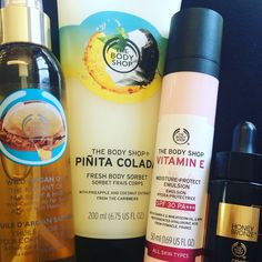 My 4 summer essentials ☀️ Vitamin E - SPF 30 for face ☀️ Drops of Sun to add subtle colour to my SPF on my face. ☀️ Pinita Colada Body Sorbet to put in the fridge and apply after a day in the sun. ☀️ Argan Oil to hydrate my skin every night. Body Shop At Home, The Body Shop, Summer Essentials, Argan Oil, Sorbet, Vitamin E, Moisturizer, Coconut, How To Apply