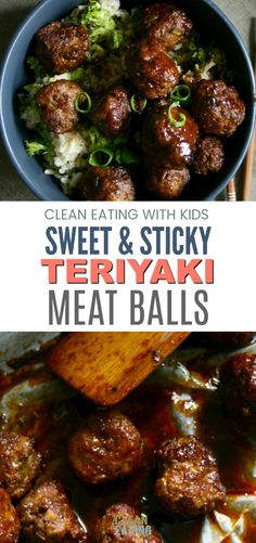 These are Amazing. Clean Eating Sweet and Sticky Teriyaki Meatballs with Broccoli Fried Rice Meatball Recipes, Beef Recipes, Cooking Recipes, Healthy Recipes, Meatball Subs, Healthy Dinners, Healthy Meatballs, Meatballs And Rice, Bbq Meatballs