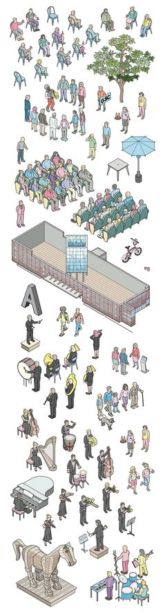 L'Auditori 2014 on Behance #isometric #illustration #character