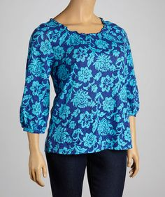 Love this International Blue Three-Quarter Sleeve Top - Plus by Caribbean Joe on #zulily! #zulilyfinds