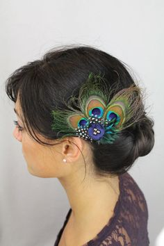 Peacock Feather Hair Clip with Teal Feathers Spotted Feathers Navy Boho Flower - Peacock Hair Accessories