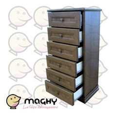 Cassettiera con sei cassetti in finto legno - 315,00 € - Solo online: http://www.maghy.eu/arredamento/163-cassettiera-con-sei-cassetti.html - Codice: cassettiera-sei-cassetti - Prodotto Nuovo - Articolo nuovo EX ESPOSIZIONE MOBILIFICO - Peso cad.: 45 kg - Dimensioni: 53x36x107(H) cm