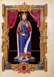 Jean Du Tillet, Clovis Ier roy crestien. Recueil des rois de France. Portrait du XVIème siècle réalisée d'après le gisant de l'église Sainte Geneviève. -  Clovis s'attaque au début de son régne d'abord à Syagrius qui, après la chute de l'Empire romain d'Occident (476), s'était taillé une sorte de royaume gallo-romain entre Loire et Seine, et le bat à Soissons en 486.