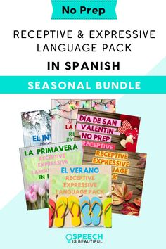 NO PREP Language Pack in Spanish: This print and go Spanish receptive and expressive language resource includes coloring sheets, games, sorting and compare and contrast, answering YES/ NO questions, and more. This is a savings bundle that covers all seasons of the year plus holidays such as Halloween, Valentine's Day, and more. - Speech is Beautiful