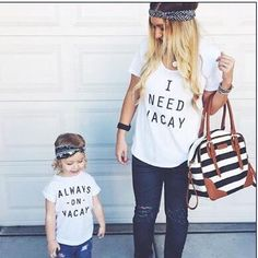 """mother and daughter clothes short sleeve matching clothes """"i need vacay"""" family t shirt"""